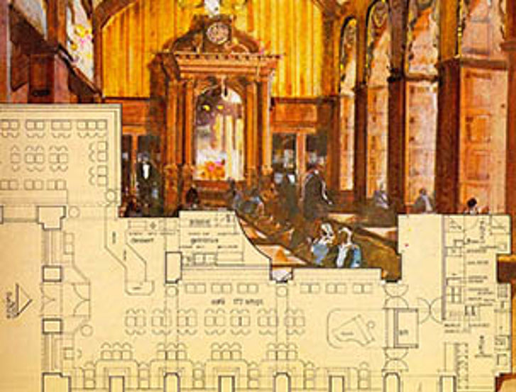 Old plans of the renovation of the Café Schwarzenberg which has not been realised.